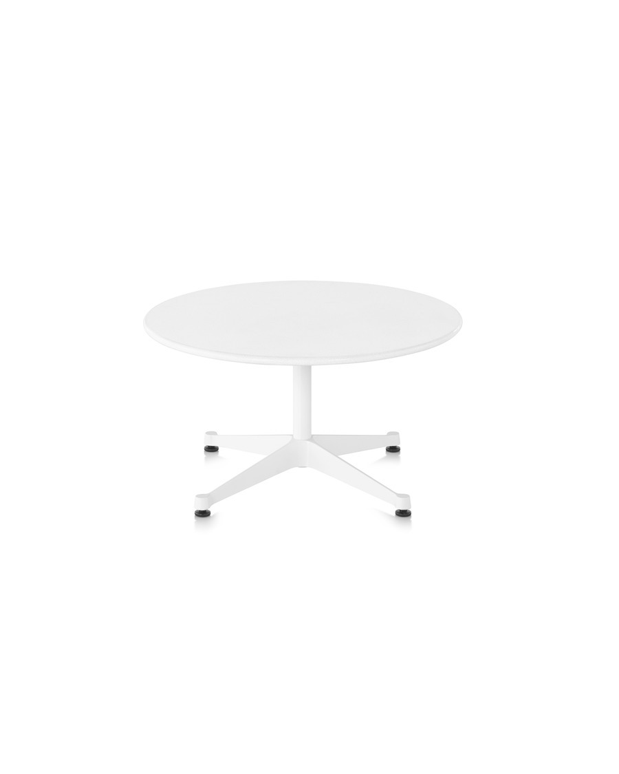 Eames low round conference table, segmented base, white laminate top