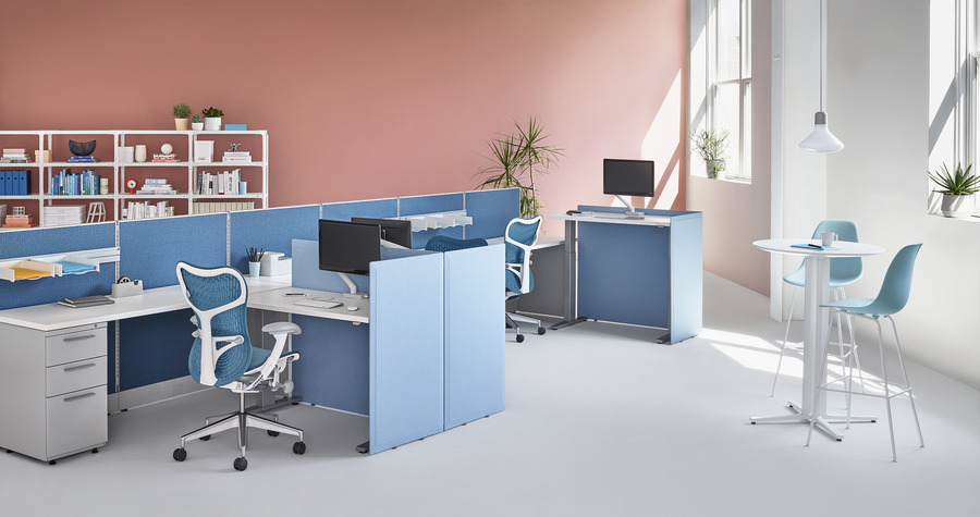 Motia Sit-to-Stand Tables with Action Office, blue and white