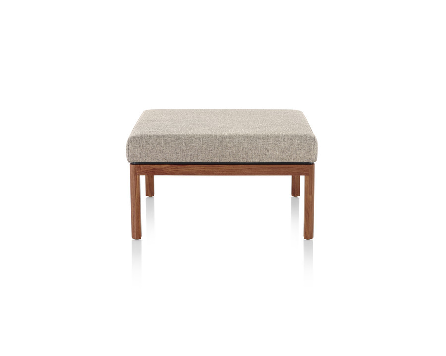 Wood Base Lounge Seating tan ottoman with dark wood base, viewed from the front