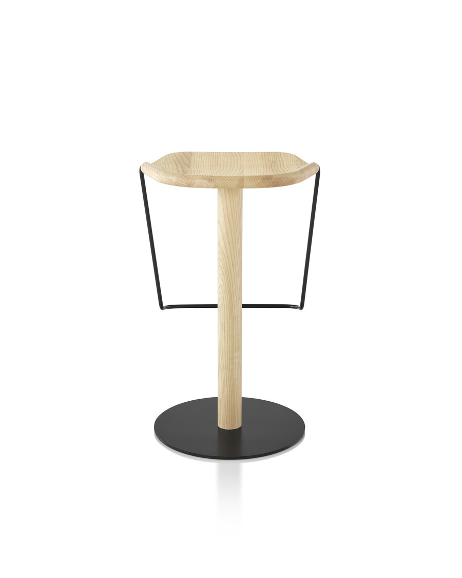 Rear view of a Mattiazzi Uncino Stool with black frame and natural ash seat.