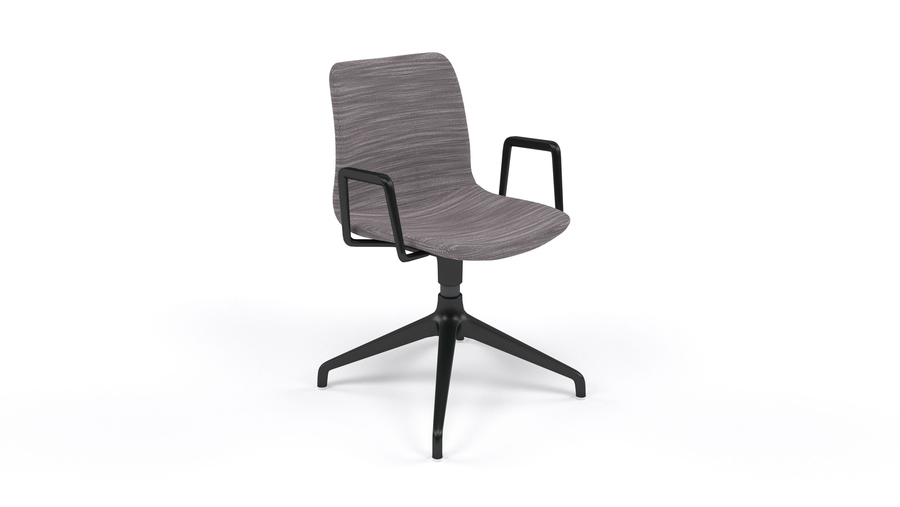 A gray patterned naughtone Viv Side Chair with a black 4-star base, viewed from the front at an angle.