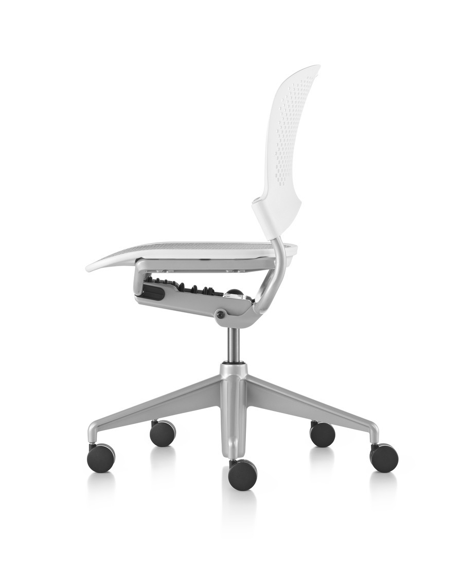 Profile view of white Caper multipurpose chair with grey seat and base, on wheels, armless