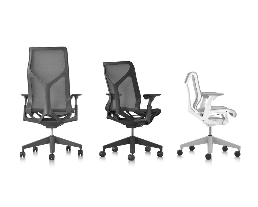 Grouping of three different Cosm office chairs, featuring varying back heights, colors and shapes