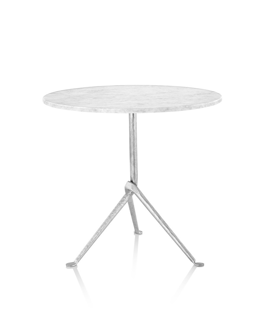 Magis Officina Pedestal table with galvanized marble top