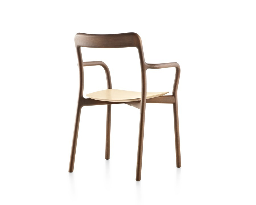 Stackable Mattiazzi Branca side chair with a medium wood finish, viewed from the rear at an angle