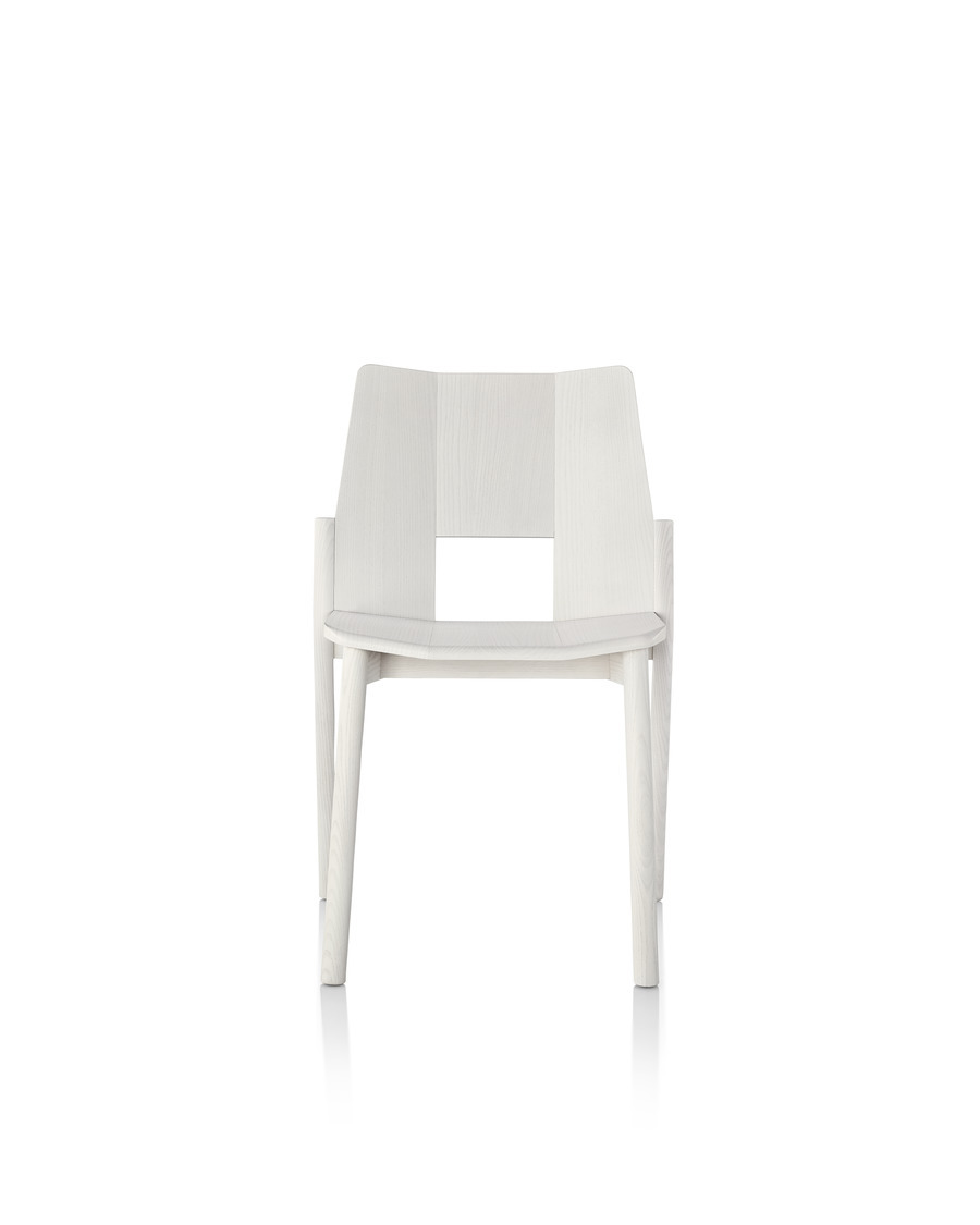 Wood Mattiazzi Tronco stackable side chair, viewed from the front