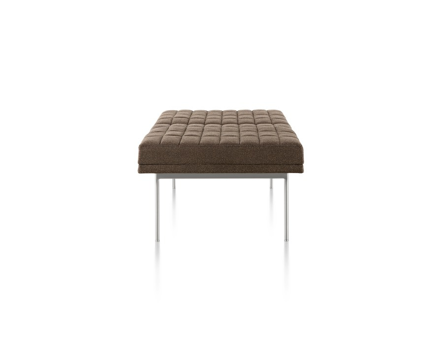 Brown Tuxedo Bench with quilted upholstery and satin chrome base, viewed from the side.