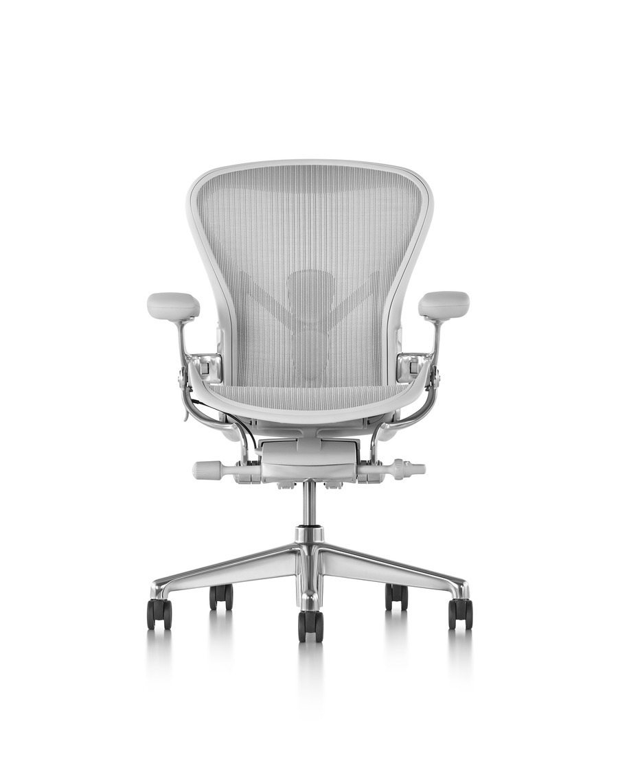 Front view of a light grey Aeron office chair with mesh back, armrests and wheels