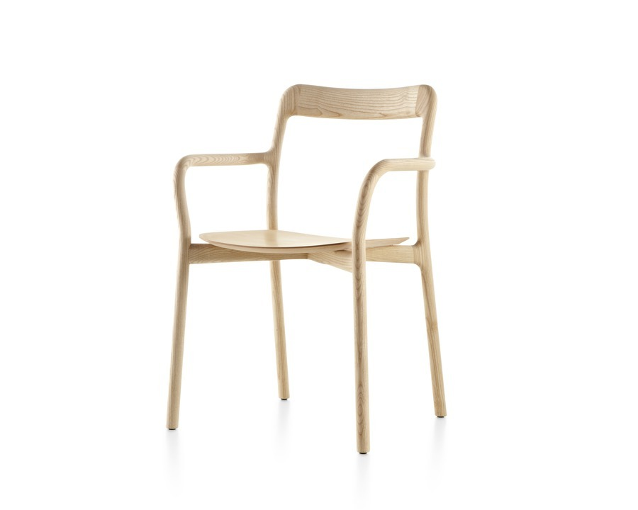 Stackable Mattiazzi Branca side chair with a light wood finish, viewed from a 45-degree angle.