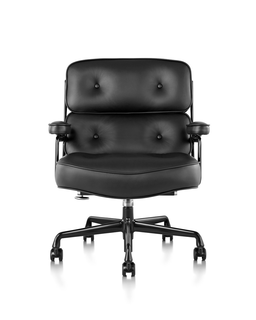 Front view of a black leather thickly cushioned Eames Executive Chair with armrests and on wheels