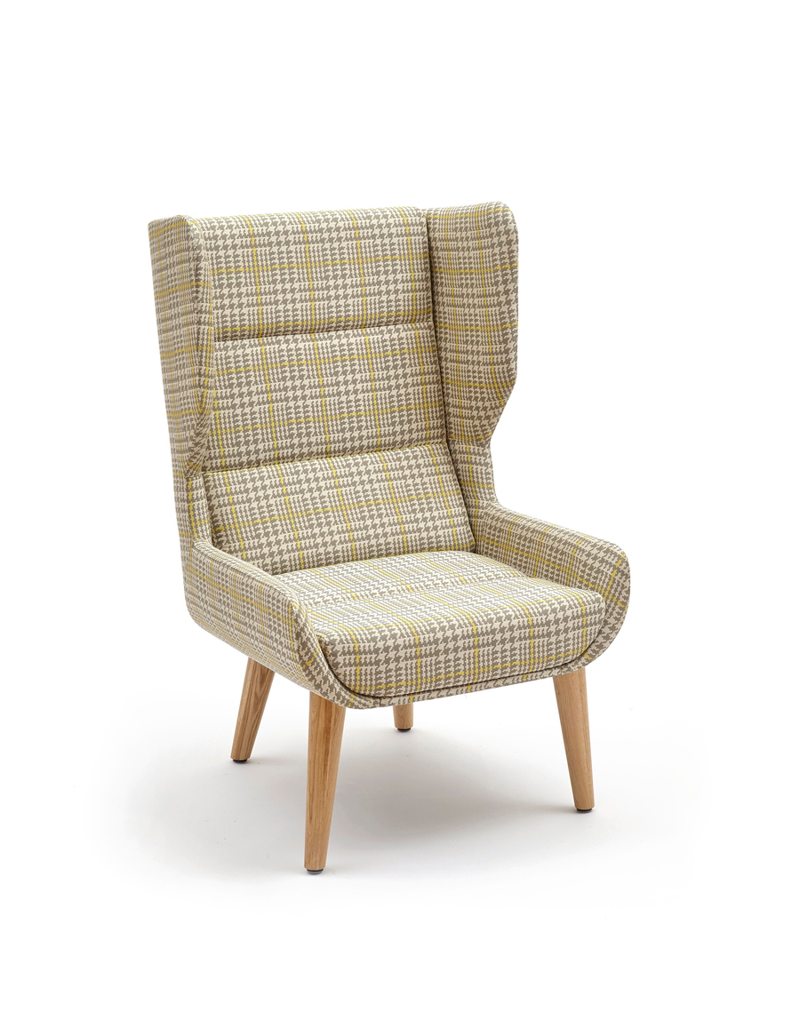 Front angled view of highback naughtone Hush Chair in a cream and yellow plaid pattern and light oak legs