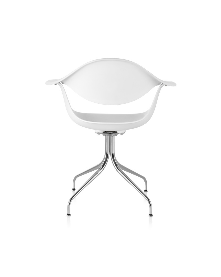 White Nelson Swag Leg Armchair, viewed from the rear