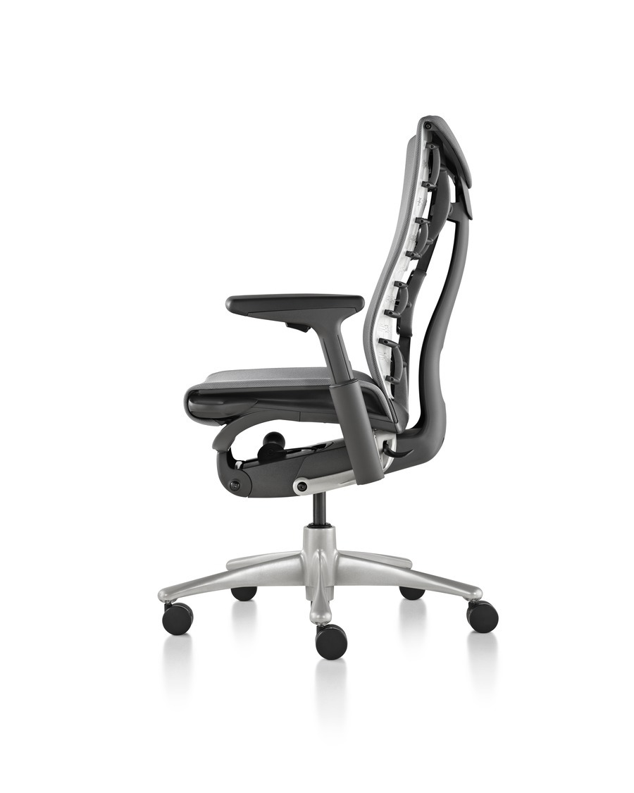 Side view of black Embody office chair, showcasing the ergonomic features on the seatback, with wheels and armrests
