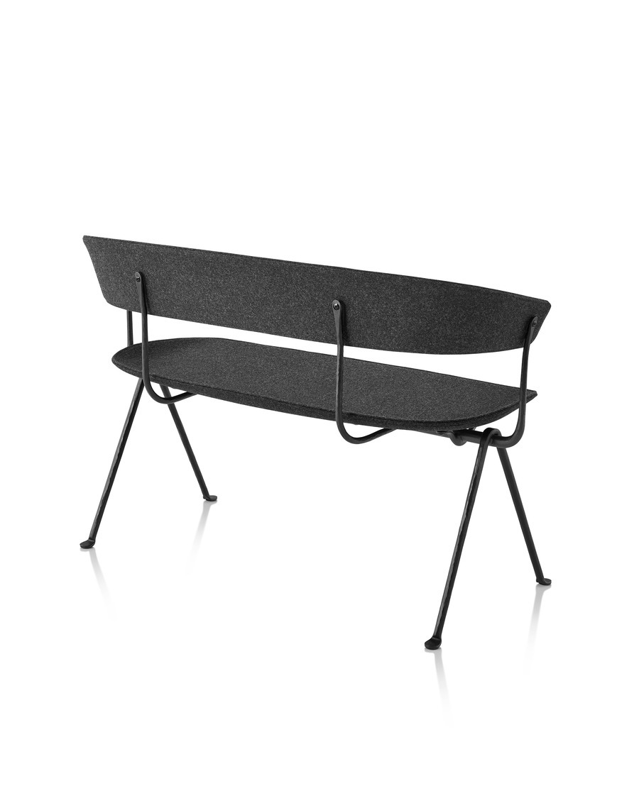 Magis Officina Bench in divina MD black, viewed from the back from an angle.