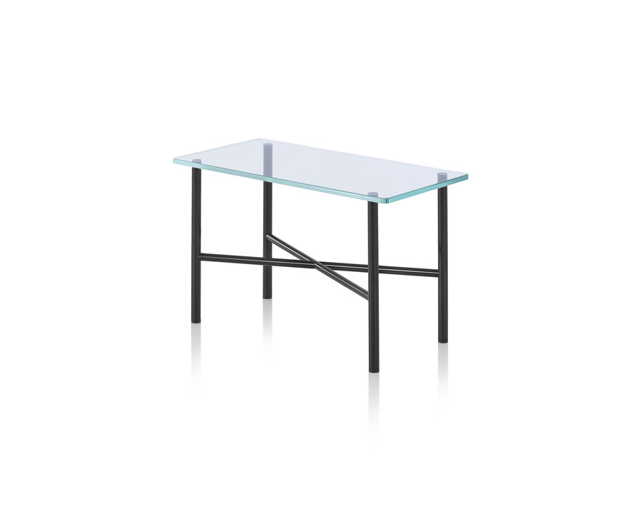 Layer accent table with glass top and black frame