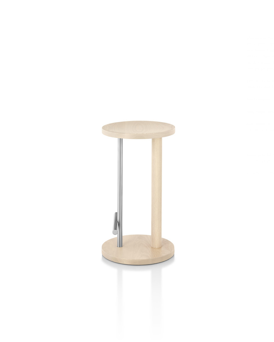 Counter-height Spot Stool in white ash with satin chrome finish, viewed from the side