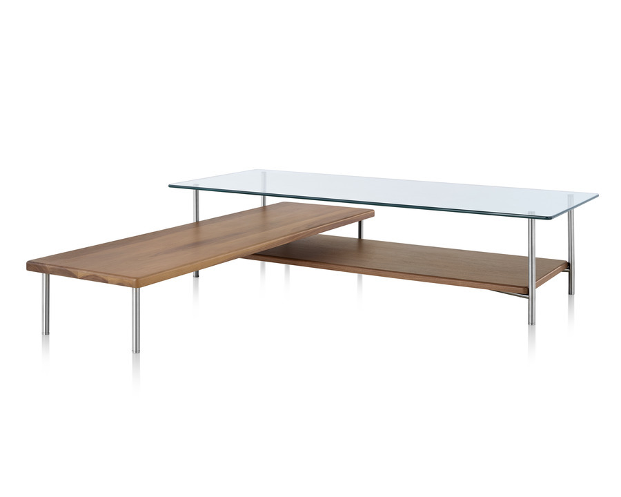 L-shaped Layer glass top coffee table with two wood lower shelves