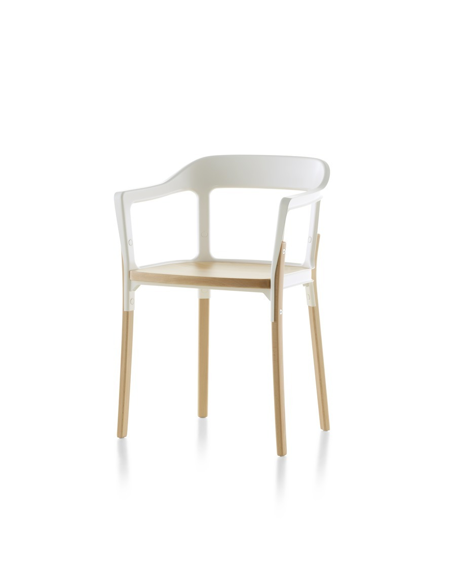 Magis Steelwood Chair, with white back and arms and a natural wood finish on the seat and legs, viewed from the front at an angle