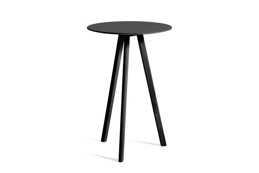 Black Copenhague Bistro Table, viewed at an angle.