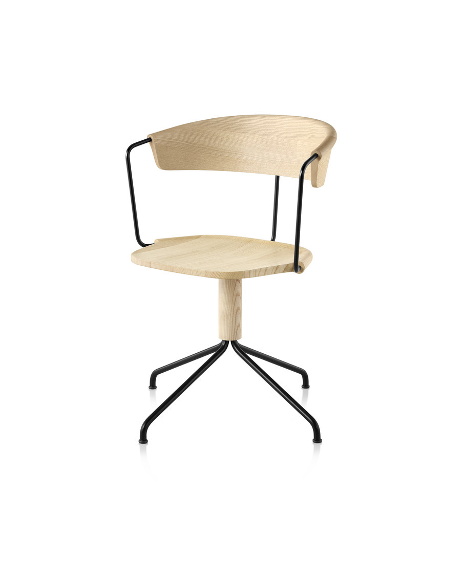 Mattiazzi Uncino Chair, Version A with black frame and natural ash seat and back, viewed from the front at an angle.