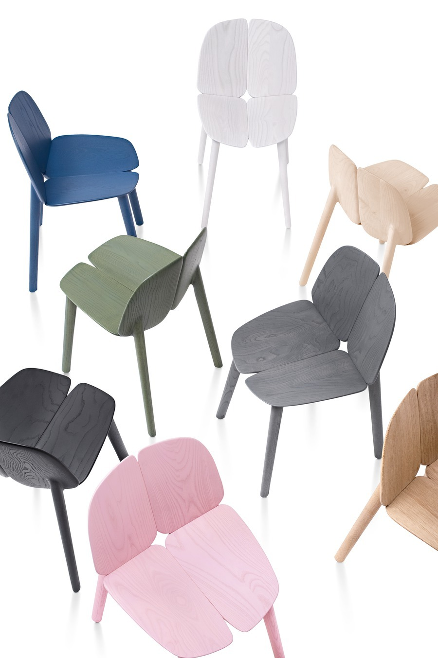 View from above of collection of Mattiazzi Osso Chair in various colors
