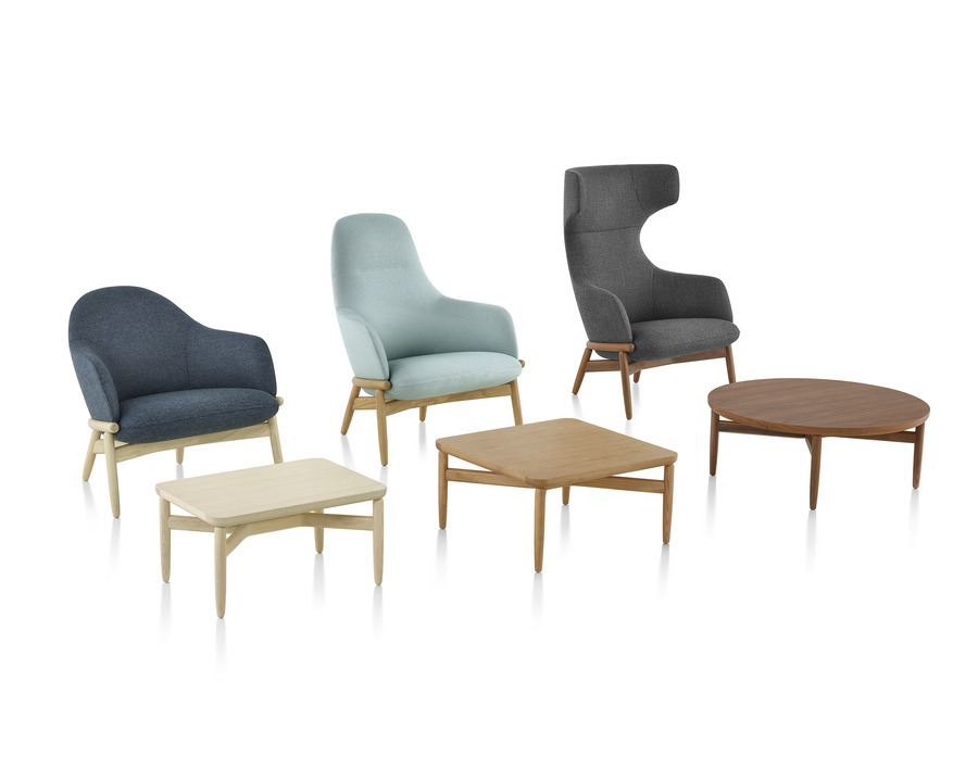 A group of Reframe Lounge Chairs with accompanying Reframe Tables.