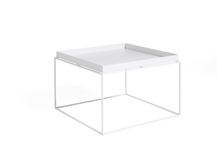 White Tray Coffee Table, viewed at an angle.
