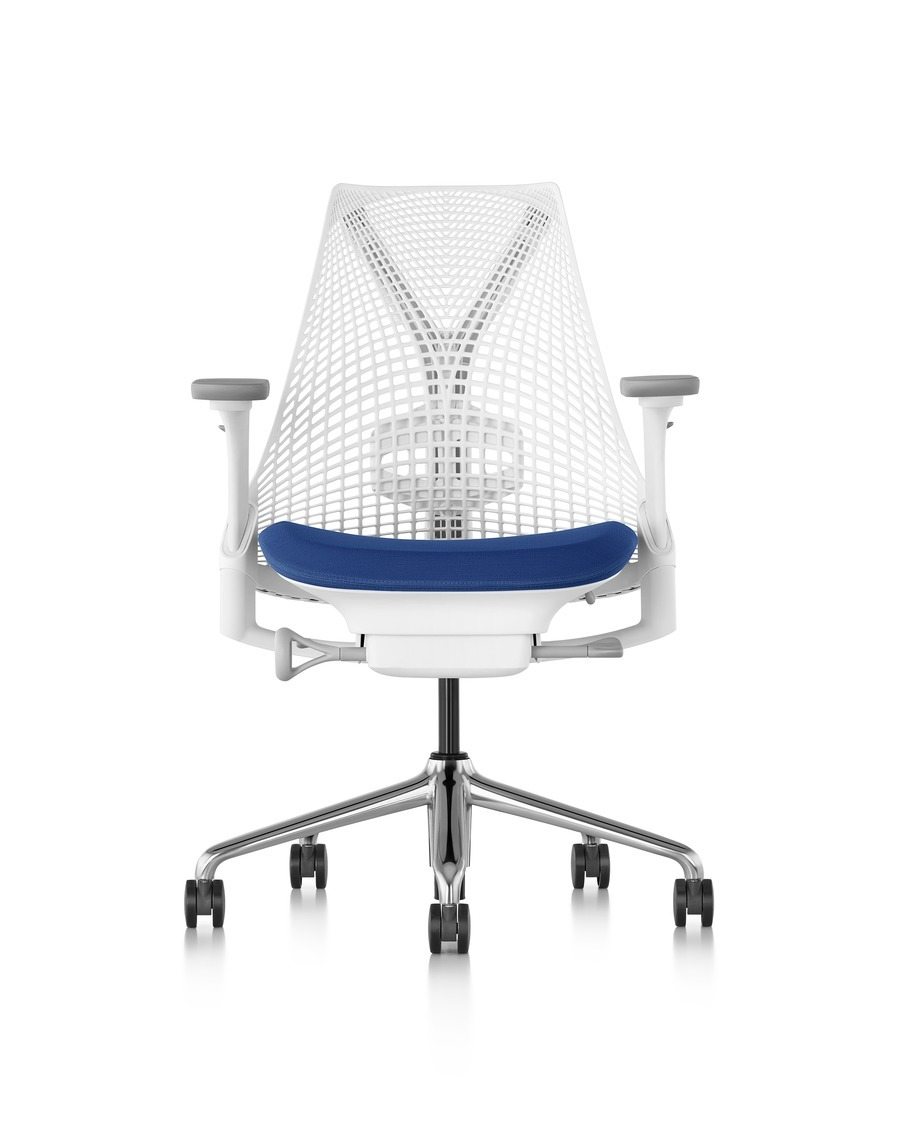 Front view of a white Sayl office chair with a suspension back and blue upholstered seat.