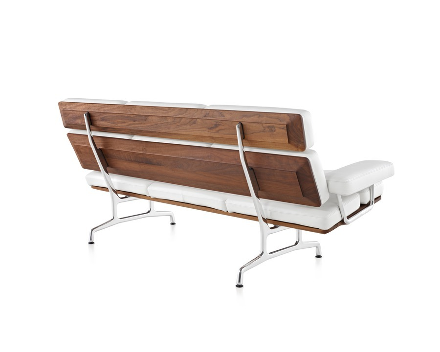 Rear view of Eames Sofa with rear wood paneling, pearl MCL leather upholstery