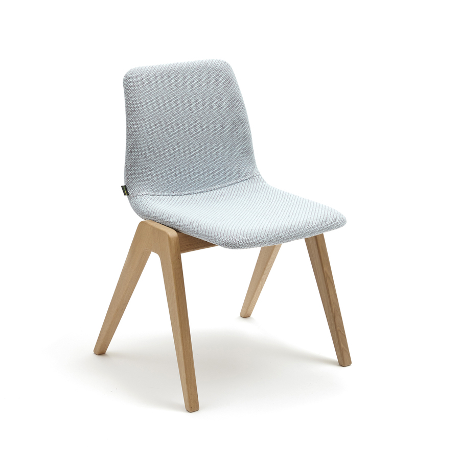 A light blue naughtone Viv Wood Chair, viewed at an angle