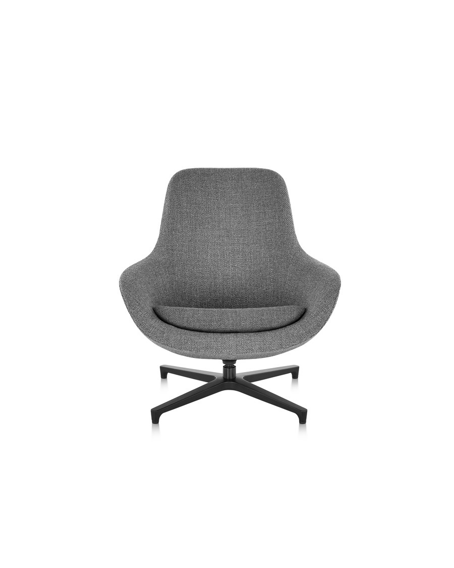 Front view of a grey Saiba lounge chair with a black base
