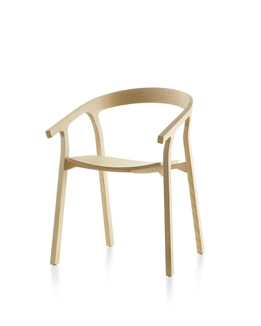 Wood Mattiazzi He Said stackable side chair with a light finish, viewed from a 45-degree angle.