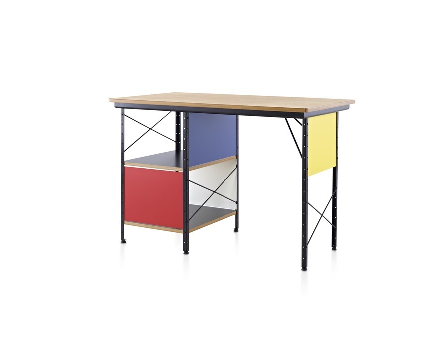 Eames Desk at angled view and colorful finish with black frame