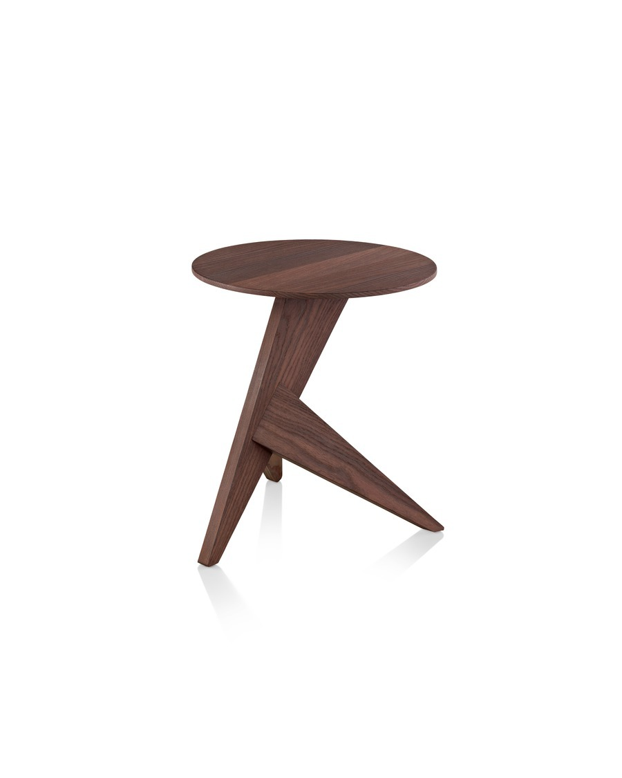 Oblique view of a Mattiazzi Medici outdoor table with a round top and angular tripod base.