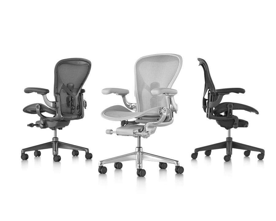 Collection of three different Aeron office chairs