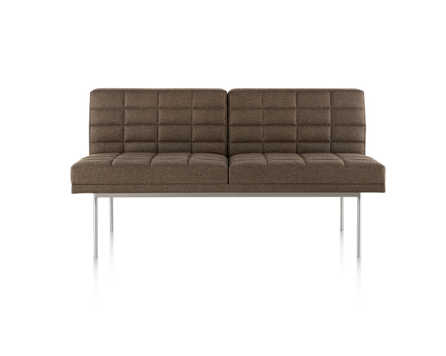 Dark brown Tuxedo Sofa with quilted fabric upholstery, viewed from the front.