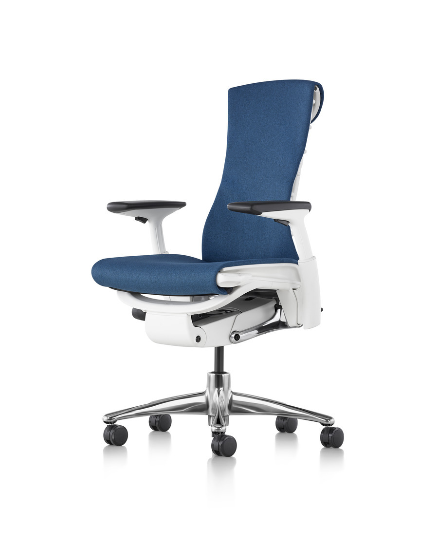 Blue Embody office chair with a white frame with polished aluminum base, front angled view, with armrests and wheels