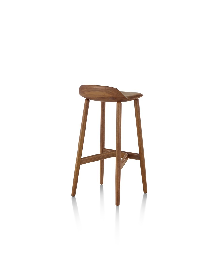 Counter-height Crosshatch Stool with a medium wood finish, viewed from the rear at an angle