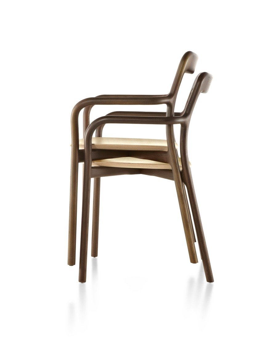 Two Mattiazzi Branca Chairs stacked on top of one another, viewed from the side