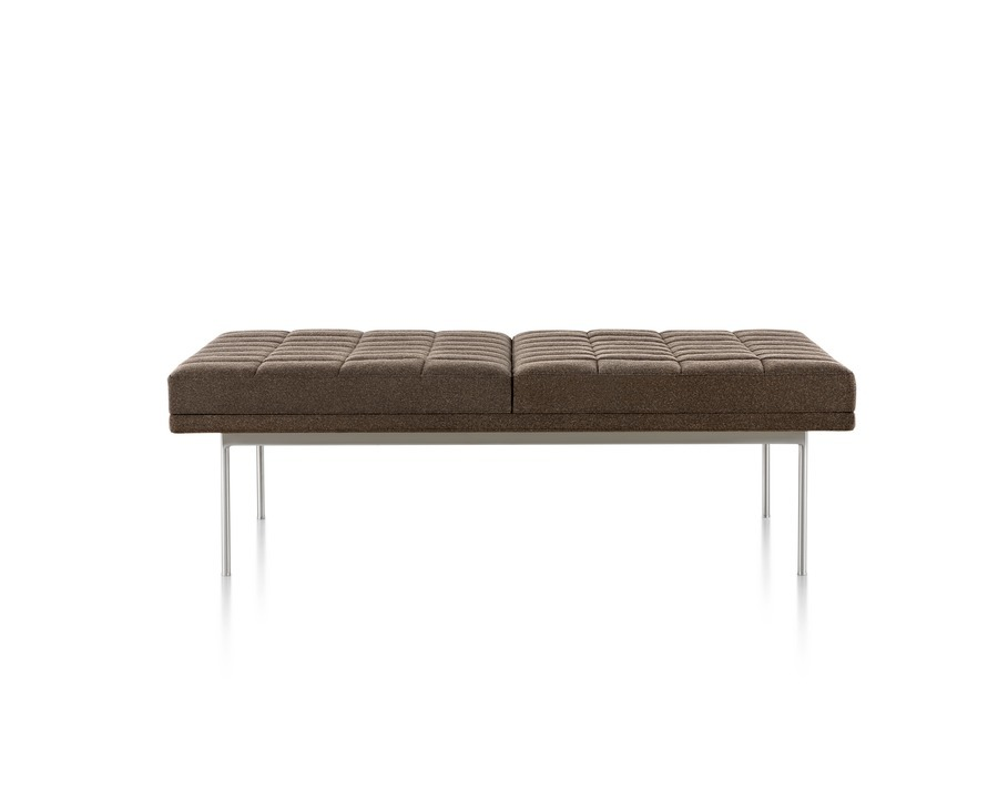 Brown Tuxedo Bench with quilted upholstery and satin chrome base, viewed from the front.
