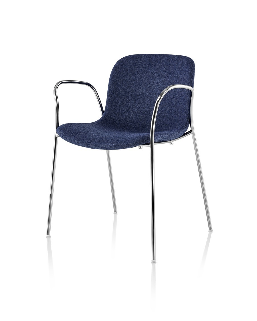 Blue Magis Troy Upholstered side chair, viewed form a 45-degree angle.