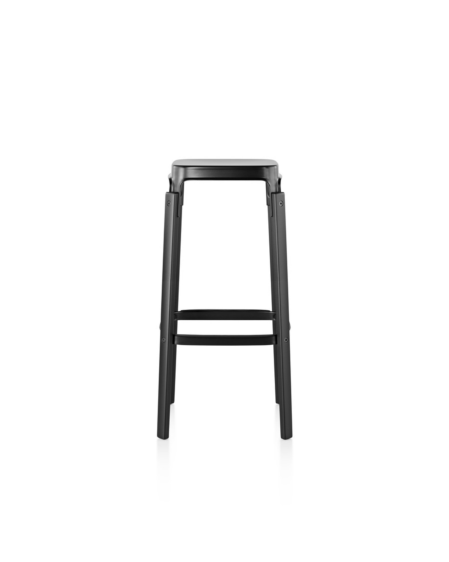 Magis Steelwood Stool with a black steel seat and black wood legs, viewed from the front