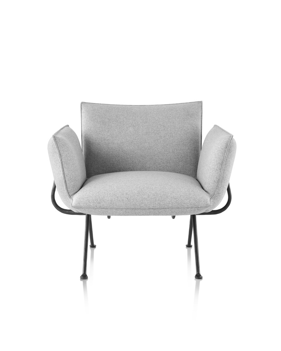 Magis Officina Armchair in Divina Melange, viewed from the front.