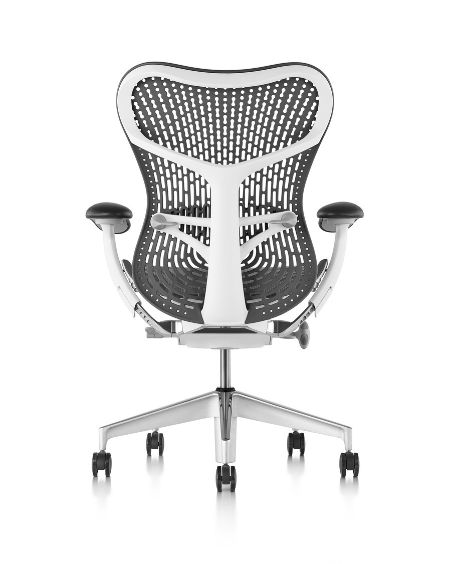 Rear view of white Sayl Office chair with black suspension back and black seat, with armrests and on wheels