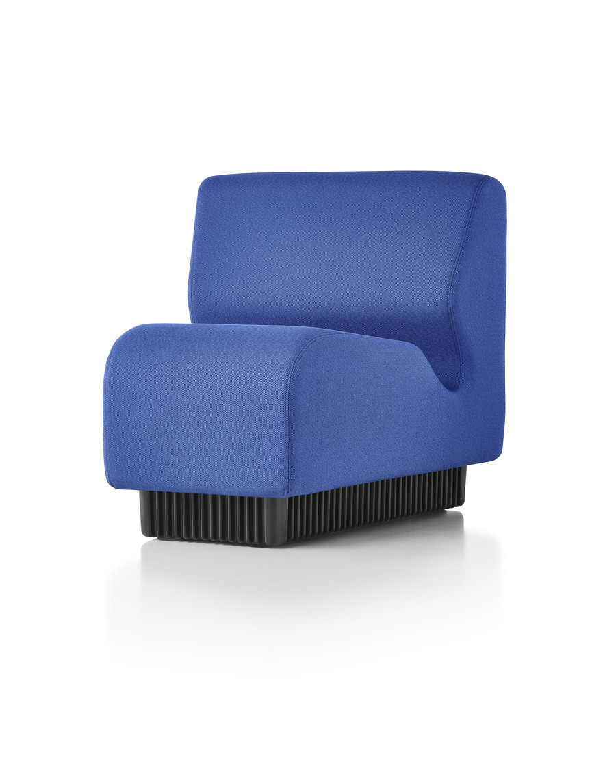 A blue Chadwick Modular Seating inside wedge, viewed from a 45-degree angle.