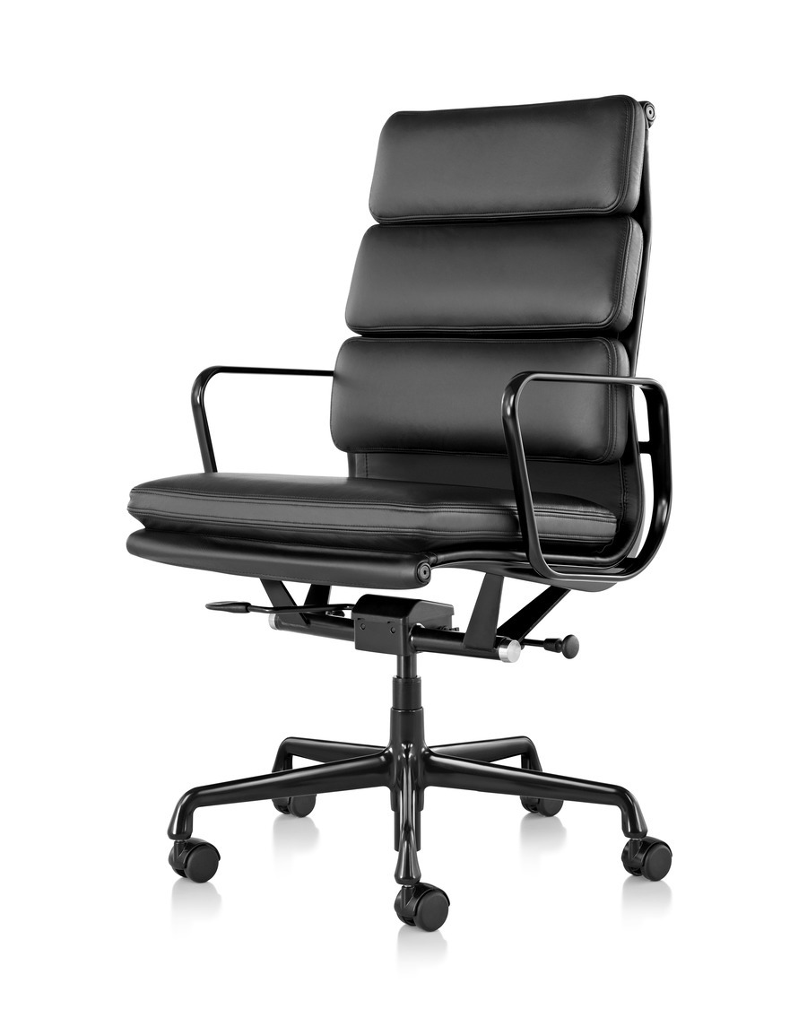 Front angled view of black leather Eames Soft Pad Chair with black base and armrests and on wheels