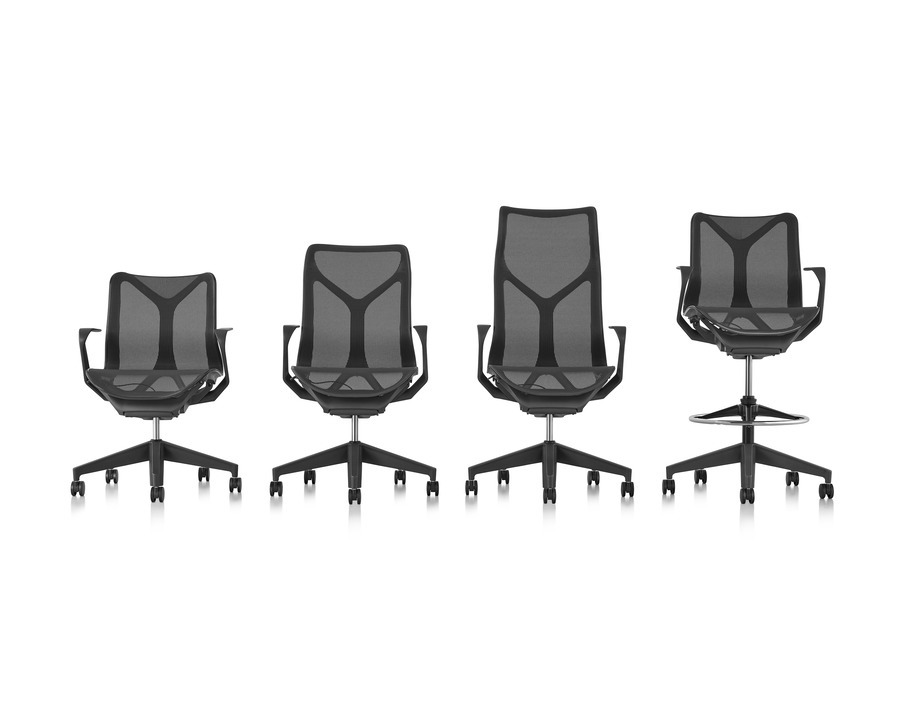 4 Cosm Stools and office chairs of various sizes lined up in a row, view from the front