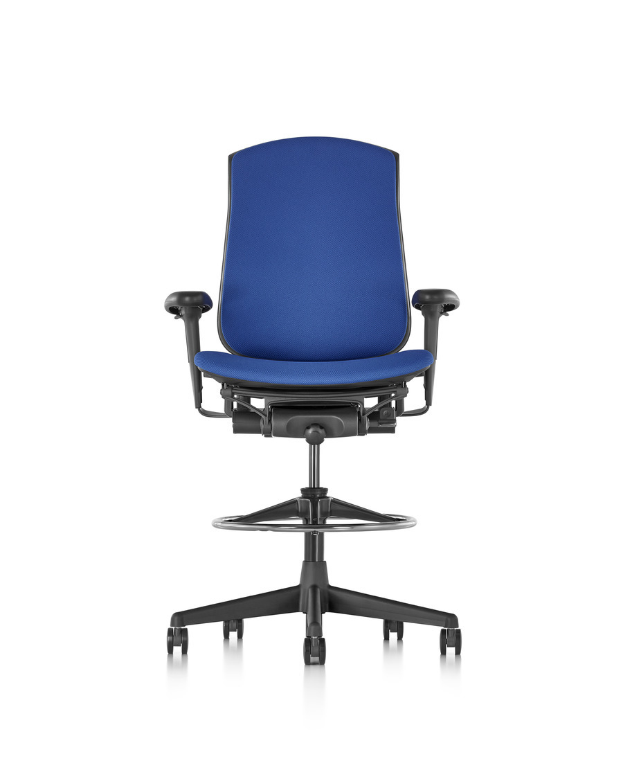 Blue Celle Stool with an upholstered seat and back, viewed from the front.