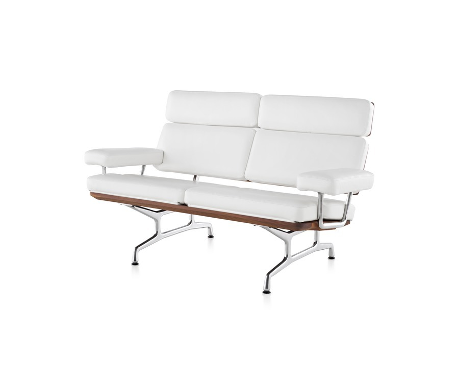 Two seat Eames Sofa in pearl MCL leather, viewed from the front at an angle